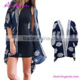 Custom cotton polyester navy blue swimsuit cover up beach dress