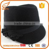 Fashion design black fedora hats wholesale women felt mini fedora hat