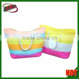 Beach bags in good Europe and America selling silicone jelly bag handbag candy color rainbow silicone tote bag