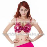 Cheap wholesale new hot fashion shiny elegant bellydance clothing,sexy sequin grade beaded belly dance bra (QC8004)