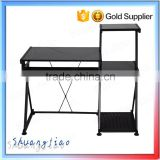 Rectangular black screen tempered glass top computer desk with small drawer