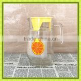 Clear glass fruit jug with filter,orange juice glass pitchers set with 4 cups,family daily use for cold drink