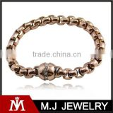 Rose gold Box chain bracelet Simple zirconia charm bangle bracelet stainless steel jewelry