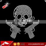 Crystal DMC Rhinestone Quality Iron on Skull Rhinestone Transfers Design for Apparel Wholesale in China