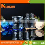 High quality Embossed Smooth Top sales glass jar with cork lid High demand products market