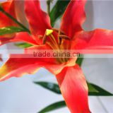 Home garden creepers decoration 110cm Height artificial red 2 flowers 2 bud Lily making EBHH04 2211