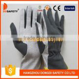 DDSAFETY 2017 100% Cotton Rubber Gloves Grey Cotton Interlock PVC Dots On Palm 3 Seams On Back Shirred Elastic Back Gloves