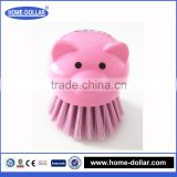 Best quality mini easy handhold kitchen vegetables and fruit plastic pig shape round brush kitchen tool plastic brush