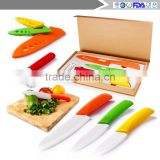 "Ceramic cutting tool ceramic knife set of 7 pieces of white blade 3 "", 4 yellow chef knife ""green utility, 6"" orange, red peeler"