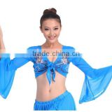 Floral embroidery belly dancing choli top with batwing sleeve