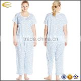 Ecoach Wholesale OEM Woman Summer Plus Size Nightwear Short Sleeve Set Pajamas Cotton Leisure loungewear Sleepwear for Women