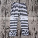 Lovely Girls Cotton black with white stripes ruffles wholesale baby icing leggings