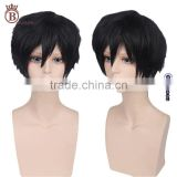 Short Curly Black Synthetic Party Hair Wig for Mens