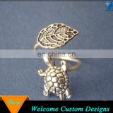 Fashion Jewelry Statement Silver Animal Turtle Adjustable Rings With A Leaf
