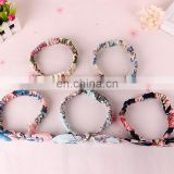 Beautiful rabbit ears girls wide fabric elastic hair band hair accessories cotton fabric elastic knot headband women