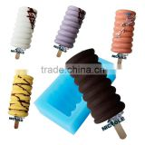 Classic Arctic Spiral Ice Cream Mold with Sticks Silicone Popsicle Mould
