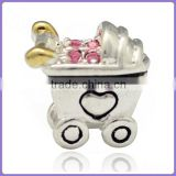 925 sterling silver Heart Baby Car charm for DIY kids European bead bracelet