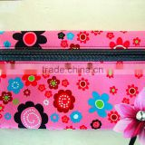 neoprene pencil case for girls, two pockets, large capacity, nice heat-transfer printing, custom size and color