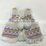 2016 hot sale aztec and fairisle jacquard knitted kid and baby vest with faux fur lining and fun pom