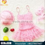 Cute Baby Girl Summer Swimwear Kids Chiffon Tutu Dress Style Bikini Girl One Piece Swimsuit With Hats