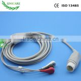HP M1735A/B, M1722A/B,M1723A/B one-piece 3 leads patient monitor ecg cable.12p,AHA,snap Style