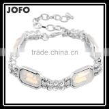 JOFO Jewellery - Bracelet Made with Nickel Free & Silver Plating White Oval Stone Bracelet XPJ0300