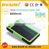 2015 christmas new hot items for Waterproof Solar Power Bank Portable Solar 8000mah Battery For Mobile Phone Charger Power Bank