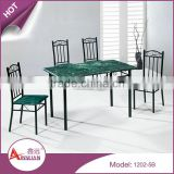 Wholesale cheap dinning table and chairs set retractable green pvc dining room table