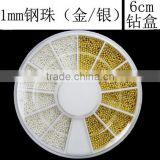 1000pcs Nail art gold silver beads decoration wheel pack of