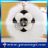 High Quality Big Size Rabbit Fur Ball Rhinestone Key Chain Rings Fashion Flower Keychains For Women Bag Charm Car Keyring K0115                                                                         Quality Choice