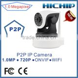 HD 1.0MP 720P wireless pan/tilt IP IR camera P2P plug connection Indoor day/Night WiFi ip camera