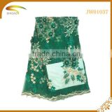 Green beaded embroidery 3D flower bridal african french lace fabric for wedding dress                                                                                                         Supplier's Choice