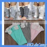 HOGIFT Kids knit lace button leg warmers,baby girl lace trim knee high boot cuff socks,7 color knee high socks