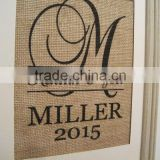 Personalized Monogram Burlap Blank Home and Garden Decoration Flag