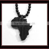 Hot!High quality black Africa map wood pendant necklace