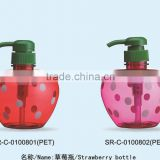 Strawberry shaped dot painted body lotion spray bottle shampoo plastic empty hand sanitizer bottle