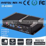 Dual antennas fanless industrial panel pc price 8G RAM 256G SSD i5 4200u support 3g,4k,hdmi+vga dual display
