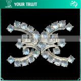 5MM Clear Cystal Rhinestone Cross C Wedding Dress Rhodium Metal Pair Buckle