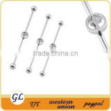 316l Surgical Steel Beautiful Industrial Barbell Cartilage Tragus Fake Earring Ear Gauge Bar Piercing Jewelry