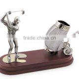 zinc alloy golf player with pen holder