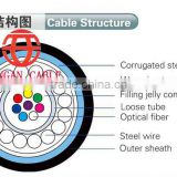 hot! outdoor steel wire armoured aerial 12 core single mode optical fiber cable meter price