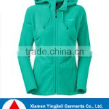 Active fit womens hoody fleece lined windbreaker jacket, bright color plain jacket for lady