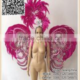 Factory Selling Cheap Samba Party Costume Showgirl Stunning Rooster Feather Costume                                                                         Quality Choice