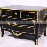 Solid Mahogany Chest of Drawers - French Livingroom Furniture - Black Painted Racoo Furniture