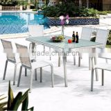 Hot Sale Synthetic Rattan Dining Set -Wicker Dining Set Furniture (1.2mm alu frame powder coated,5cm thick cushion)