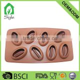 New Design cake decoration Silicone 8 cups coffee bean ice cube tray chocolate mold