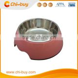 "Chi-buy Pink Detachable Dual Melamine pet bowl antiskid Dog cat food water bowl,S Size:3.93""LX5.51""WX1.77""H"