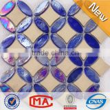 LJ JY-G-106 High Quality Ceramic Mosaic Mix Iridescent Crystal Glass Mosaic Blue Bathroom Floor Tile Price Dubai Style