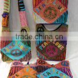Wholesale Nepal Peace Sign Elephant Dove Lotus Flower Tie Dye Hobo Bags Sling Purses Fabric Bags