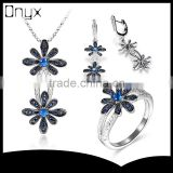 925 sterling silver blue saphire daisy flower jewelry set with pendant ring and ear studs
